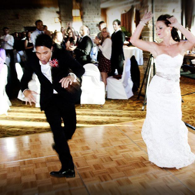 wedding couple dancing at Jasper Park Lodge