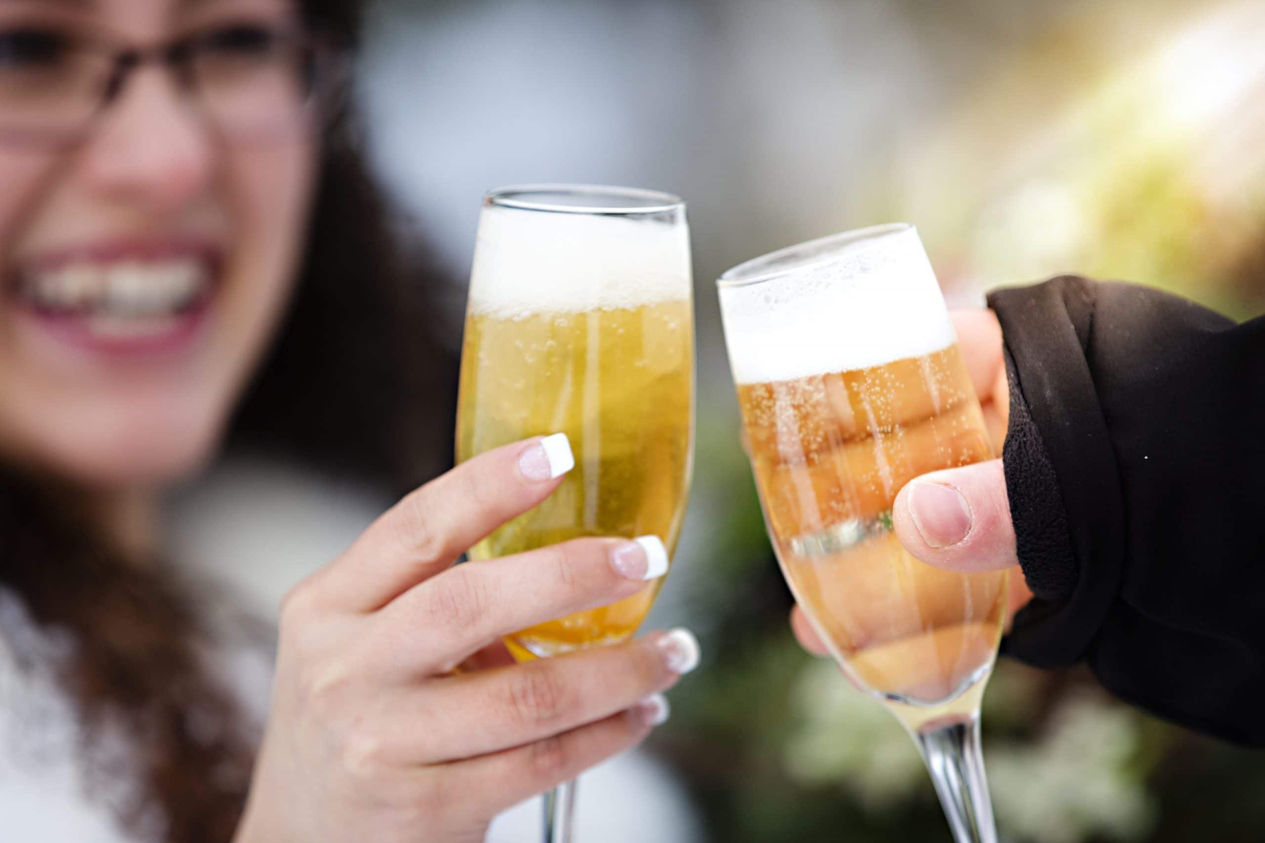 toasting champagne glasses Jasper Elopement