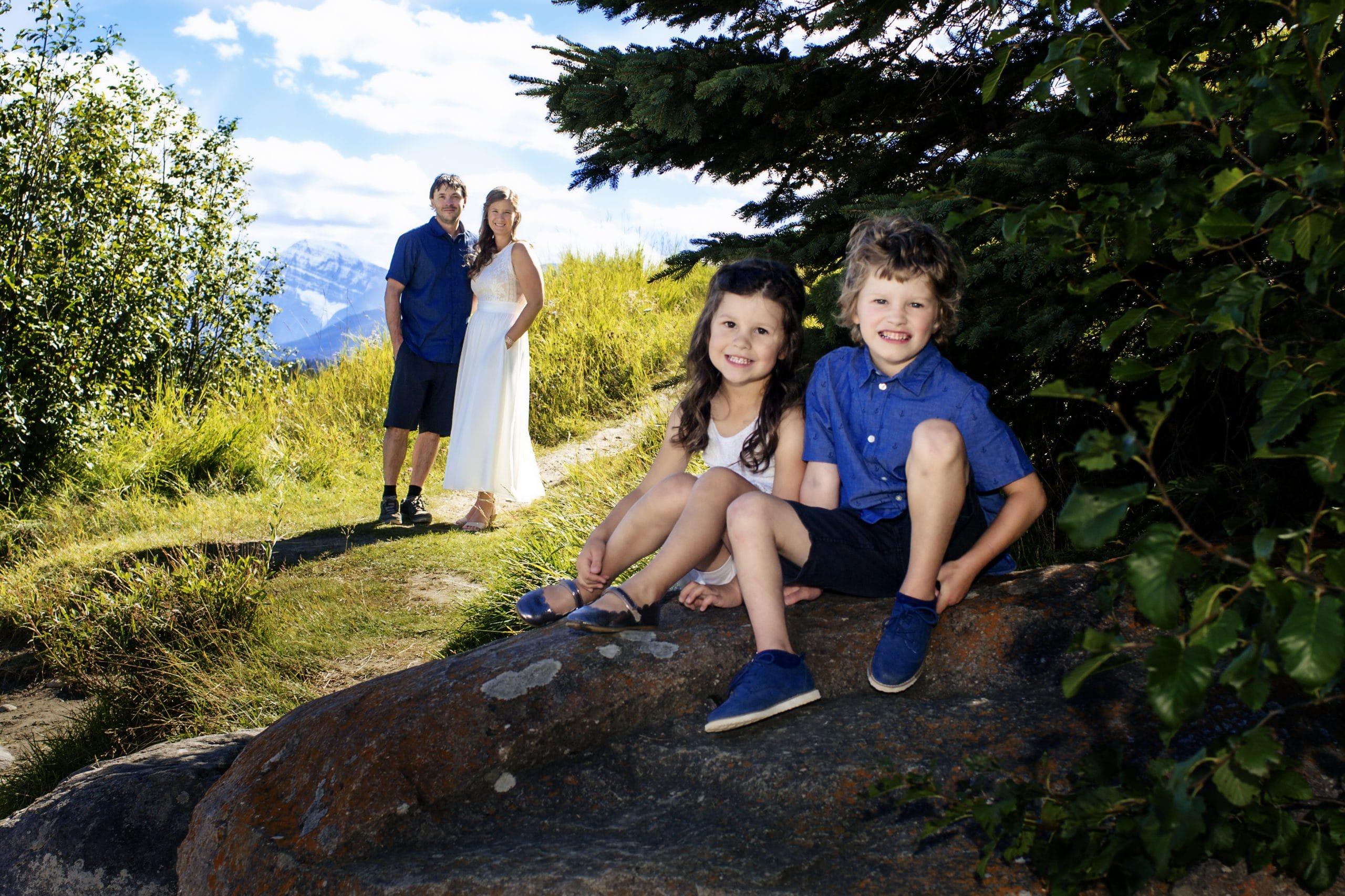 Family photo taken after ceremony inJasper Alberta Jasper photographer