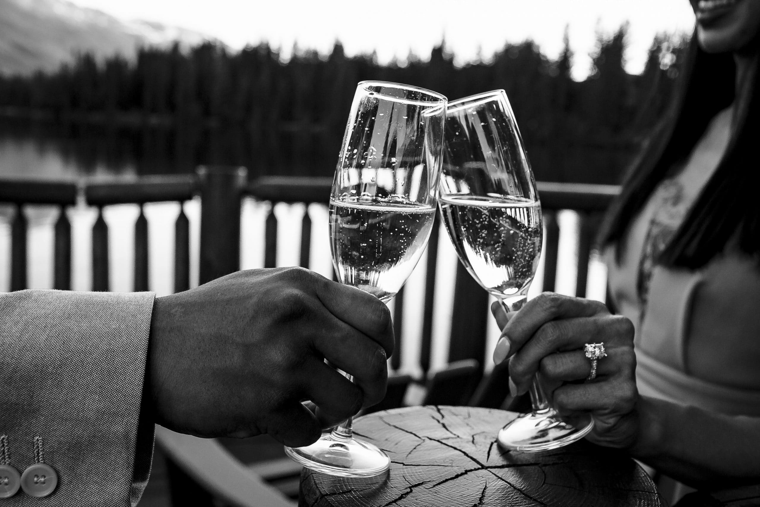 wine glasses being clinked by two hands-Jasper Park Lodge proposal