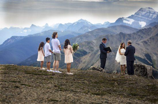 small wedding ceremony on top of Jasper Tramway- elope in Jasper